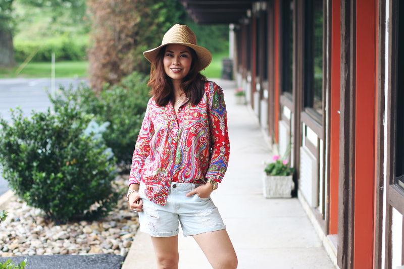 Paisley button down shirt, denim cutoffs, straw hat