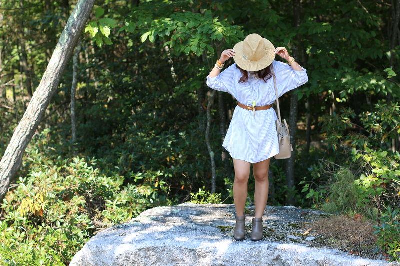 striped dress, ankle boots, straw hat, Hermes belt