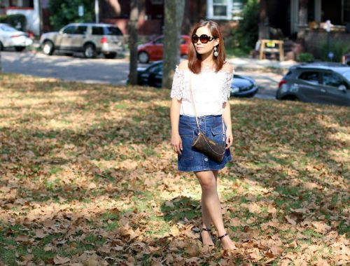 off shoulder lace top, button denim skirt, Louis Vuitton eva clutch, prada baroque sunglasses