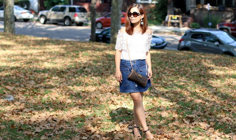 off shoulder lace top, button denim skirt, Louis Vuitton eva clutch, prada baroque sunglasses