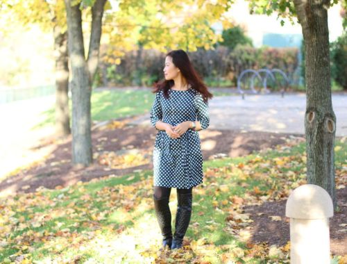 polka dot dress, lucluc shop, over the knee boots, outfit