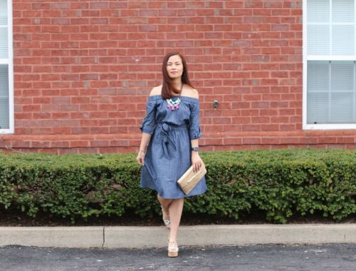 eShakti Custom Dress Off Shoulder Chambray
