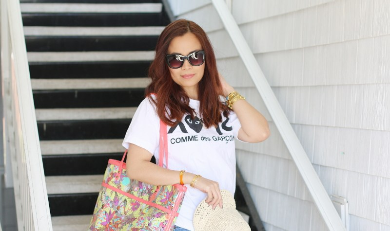 Sakroots Artist Circle Tote, Comme des Garcons white tee