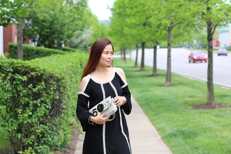 Neiman Marcus Black Crochet Trim Dress, Chanel bag