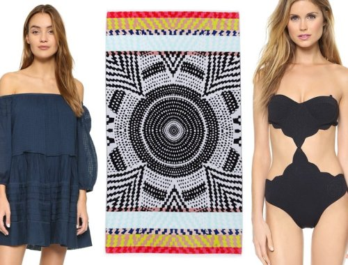 Shopbop Surprise Sale Beach Essentials, Mara Hoffman towel, Free People off shoulder dress, Marysia Scallop Swimsuit