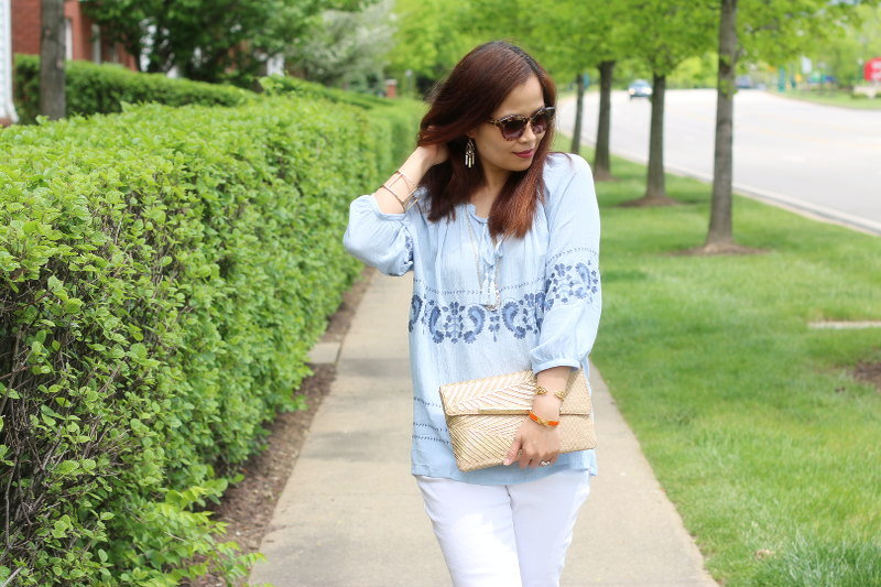 Michael Kors white denim, Lilly Pulitzer straw clutch, blue top