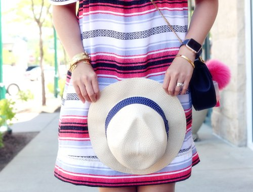 Fresh Summer Outfit, hat, striped dress, off shoulder, cross body bag