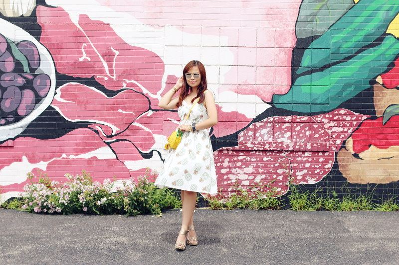 Zaful Pineapple Dress, printed dress, espadrille wedges