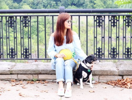 Zaful off shoulder top, pineapple bag, distressed jeans, Louis beagle dog
