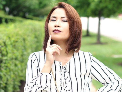 Versona Lace Up Top, black and white, stripes
