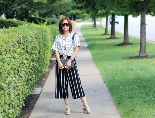 plaid shirt, Versona striped culottes, cropped pants, lace up sandals, Chanel bag, Karen Walker sunglasses