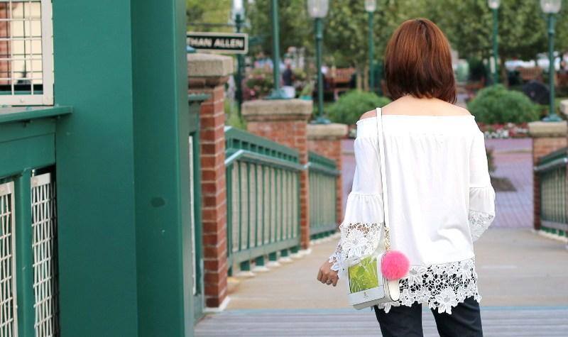 White Off Shoulder Lace Trim Top, denim, outfit