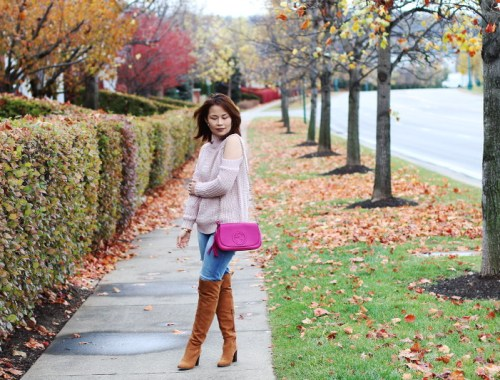Cold Shoulder Sweater , gucci bag, over the knee boots, otk, pink sweater, fall outfit, fashion, style