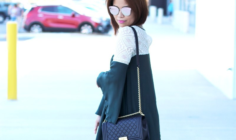 bell sleeves dress, lace, outfit, fashion, style