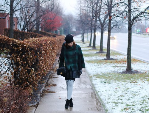 Green Plaid Cape Coat, knee high socks, chanel abg