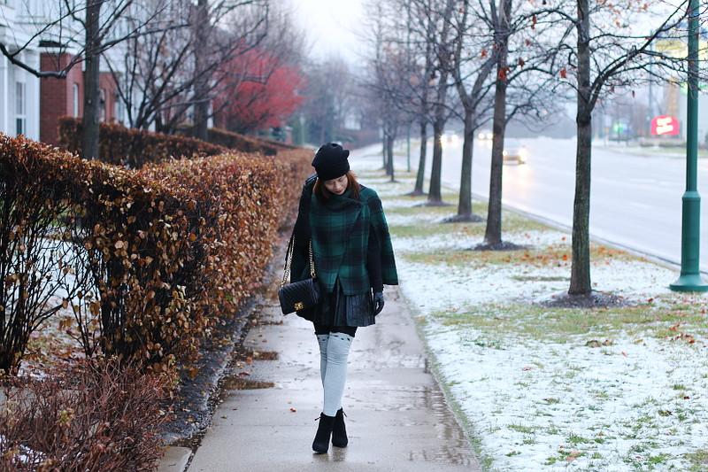 Green Plaid Cape Coat, knee high socks, chanel abg