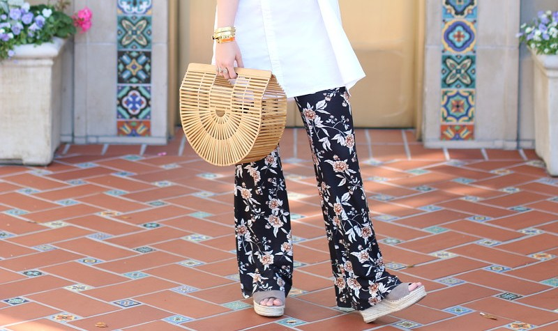Cult Gaia Ark Bag, floral pants, Steve Madden wedges, outfit, fashion