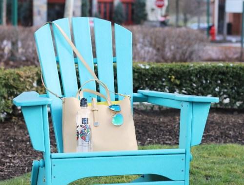 bag, sunglasses, LIFEWTR water bottle