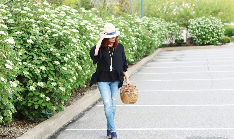 Black Ruffle Peplum Spring Top, hat, mules, cult gaia ark bag