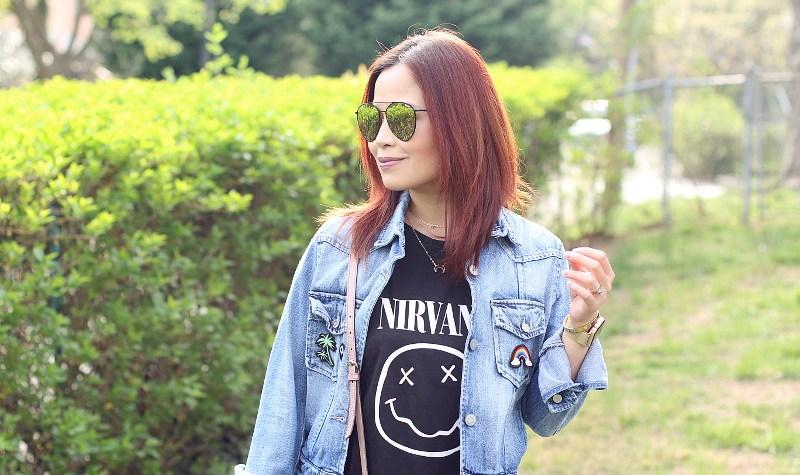 Quay x Jasmine Saunders Indio Sunglasses, Nirvana shirt, denim jacket