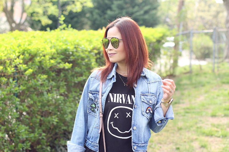 Quay x Jasmine Saunders Indio Sunglasses, Nirvana shirt, denim jacket