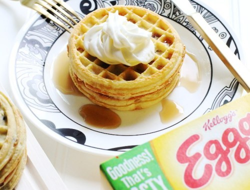 Eggo Waffles PBJ Recipe, whipped cream topping, waffle, food