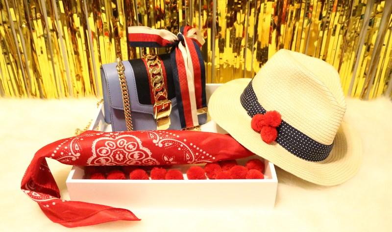 red white blue accessories, DIY pom pom hat, scarf