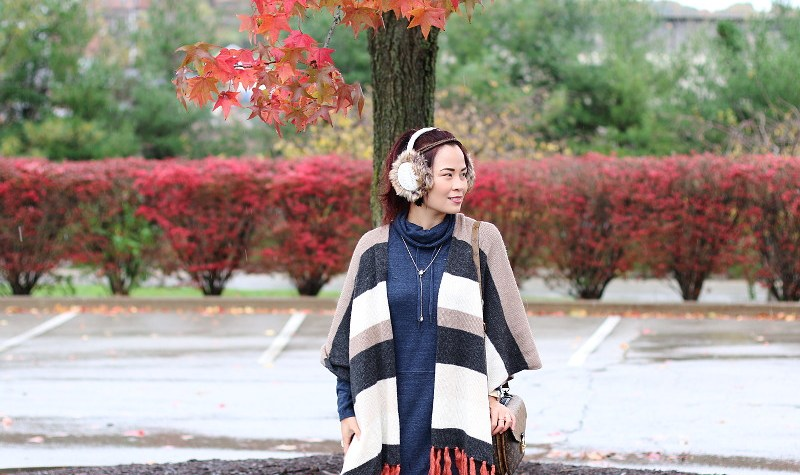 thanksgiving outfit, poncho, ear muffs, sweater dress