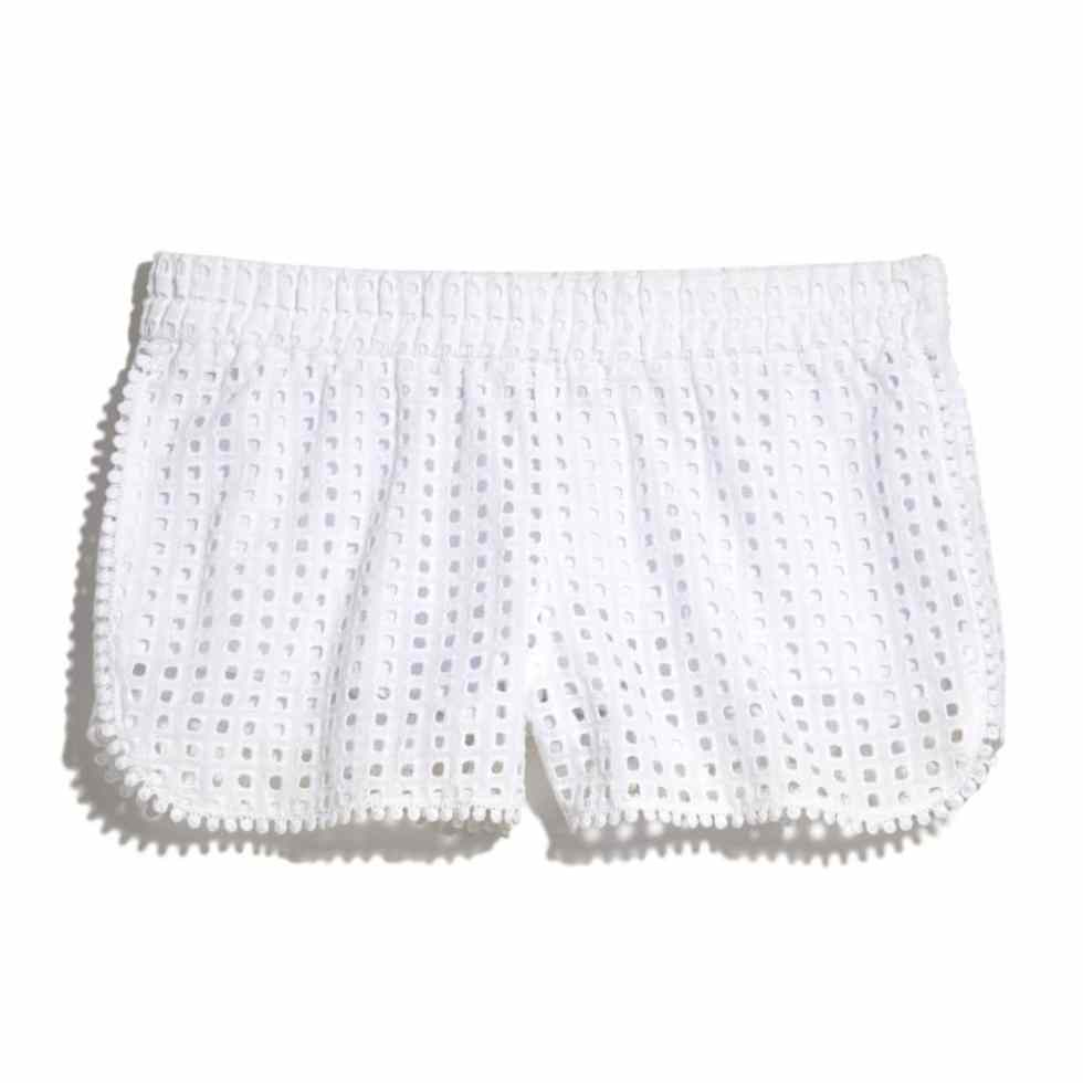 EYELET SHORTS - WHITE $26