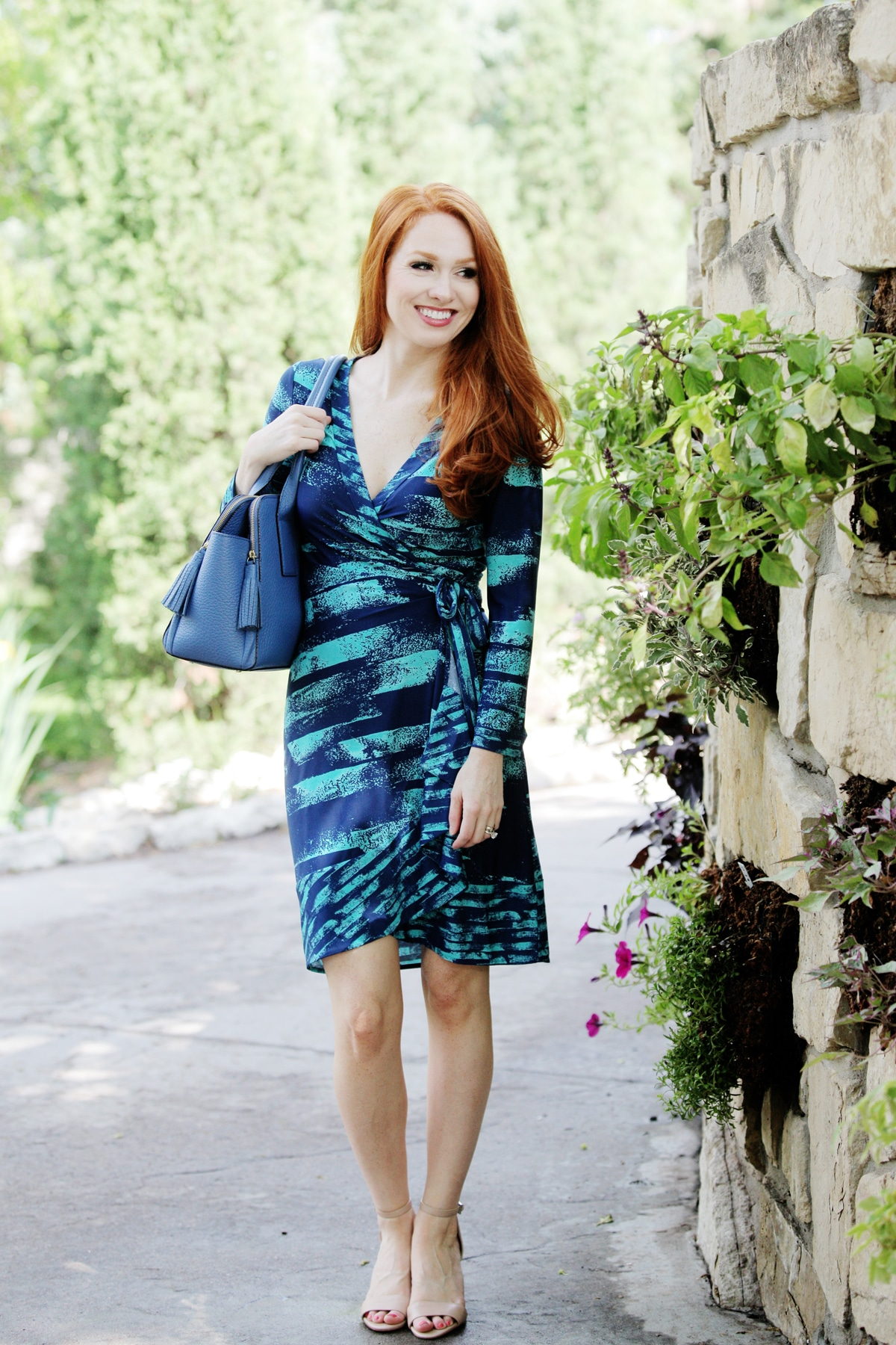 Outfit Of The Day Blue Wrap Dress Style Assisted