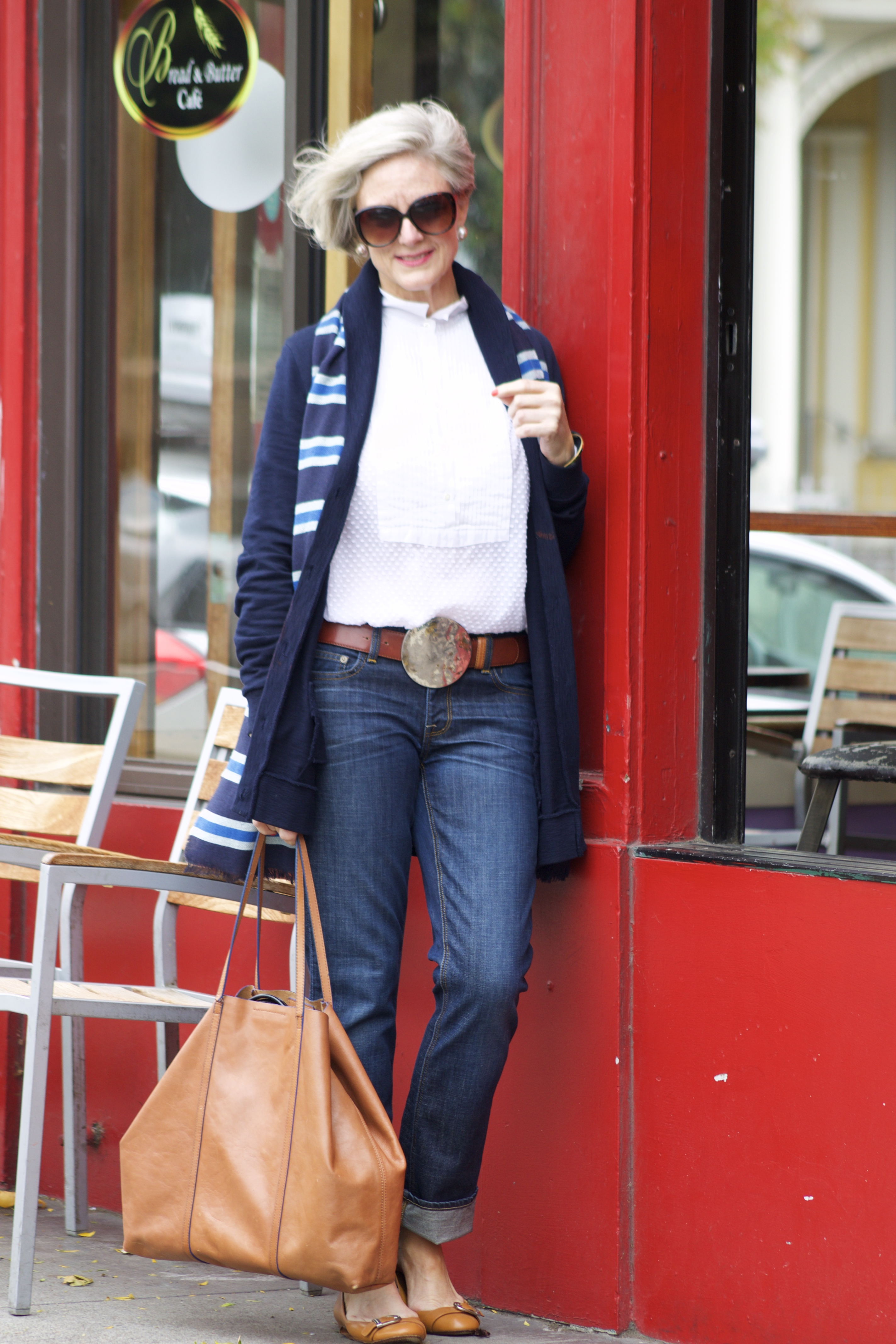 blue jeans and boyfriend sweater | Style at a Certain Age