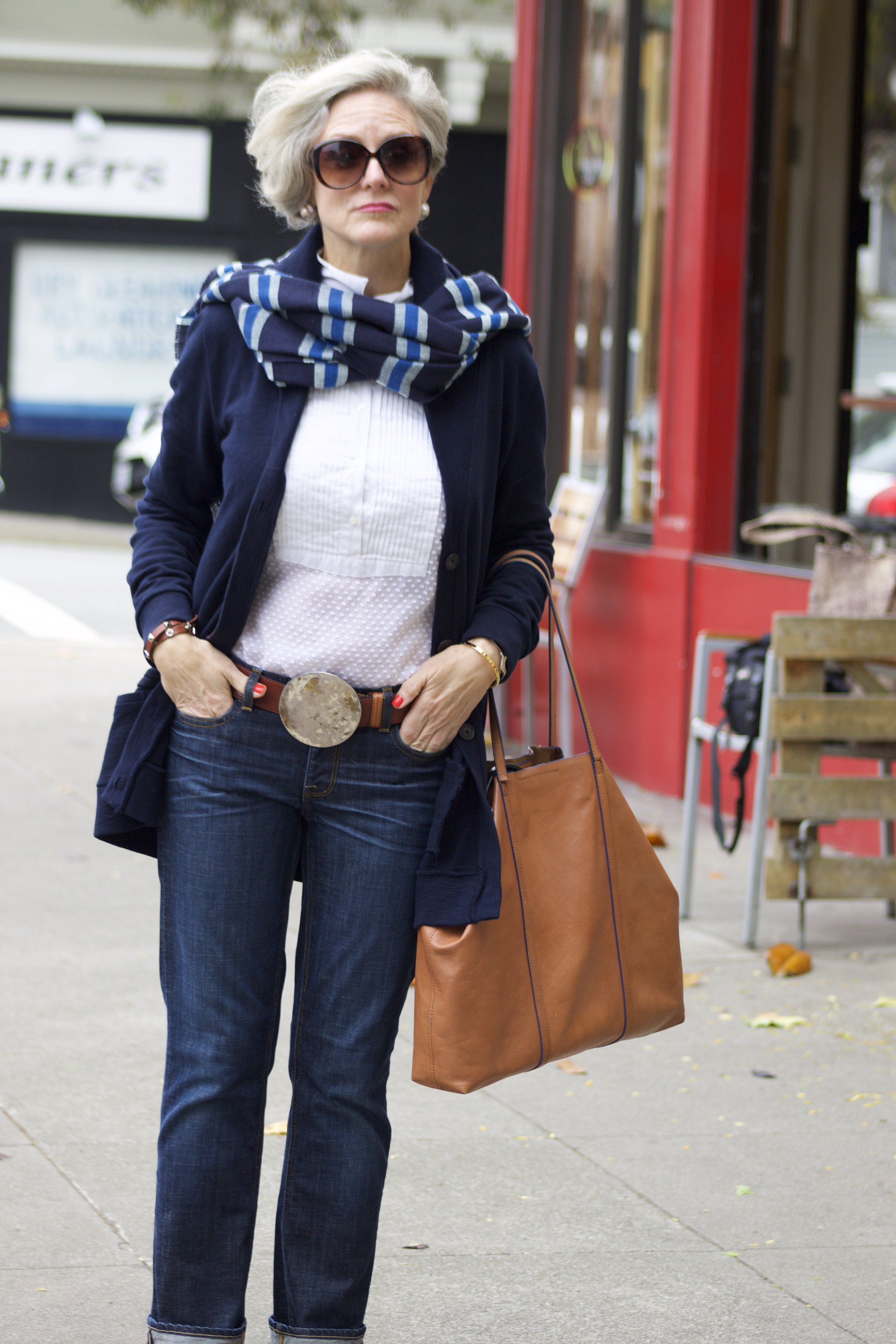 Blue Jeans And Boyfriend Sweater Style At A Certain Age