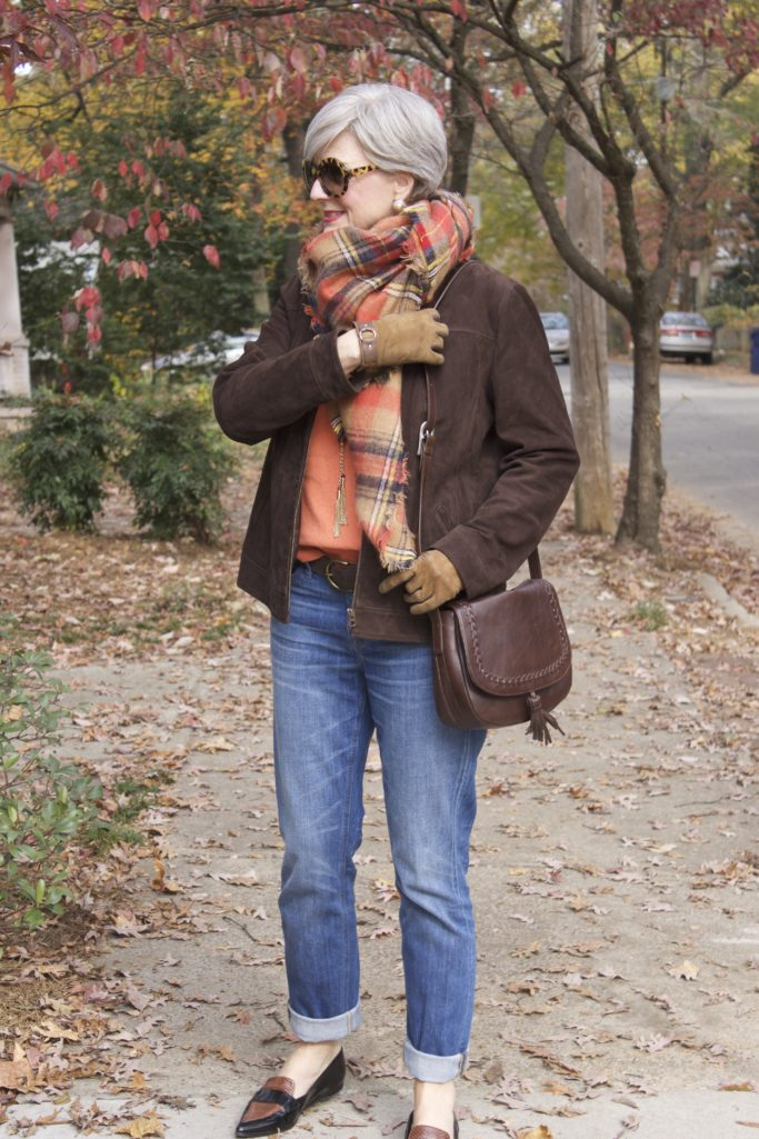 blue jeans and blanket scarves