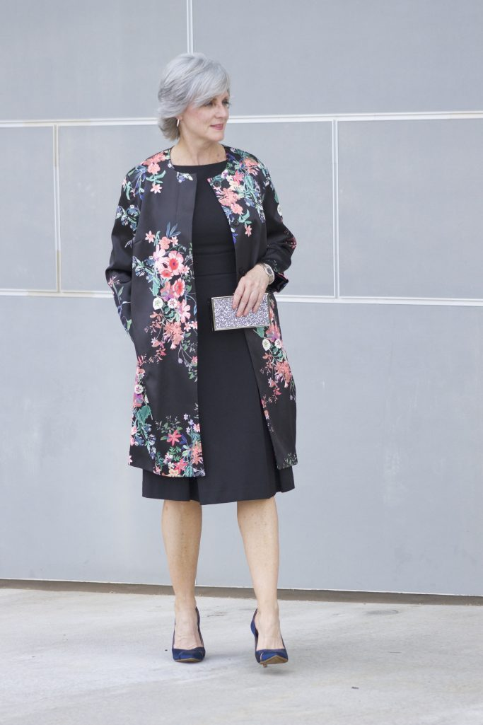 M&S black dress/floral coat