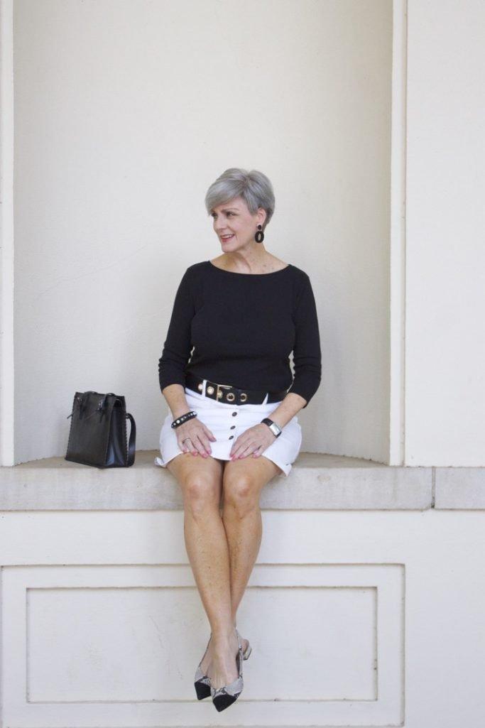 white denim skirt for summer