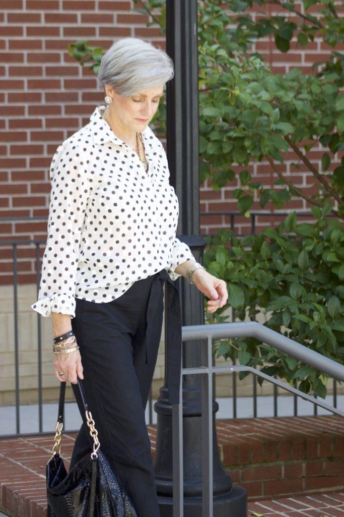 polka dots and linen pants