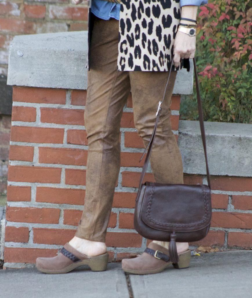 chico's leopard vest, faux leather leggings, denim shirt