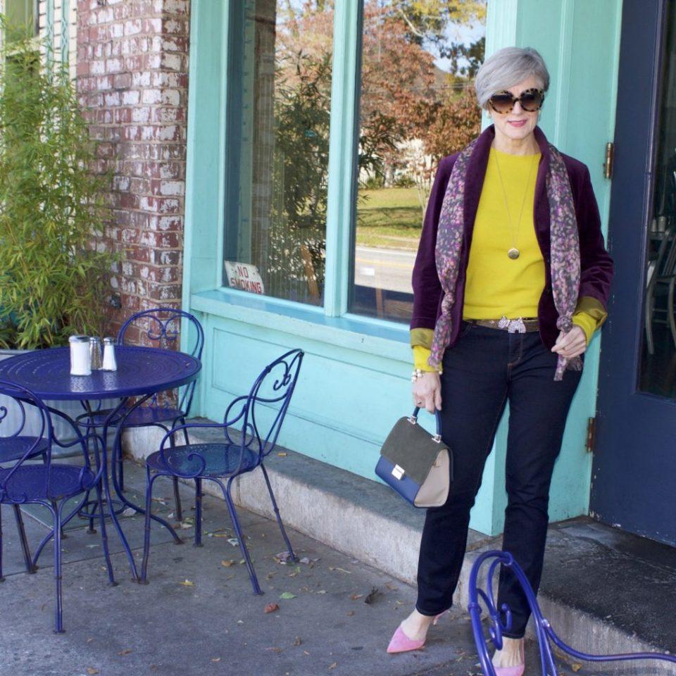 jcrew velvet blazer, ann taylor modern skinny denim, j.crew italian cashmere, pink suede pumps