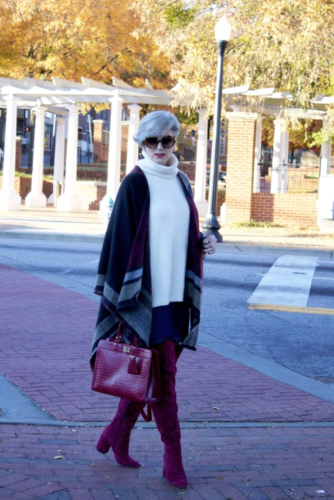 suede over the knee boots, denim skirt, chunky sweater