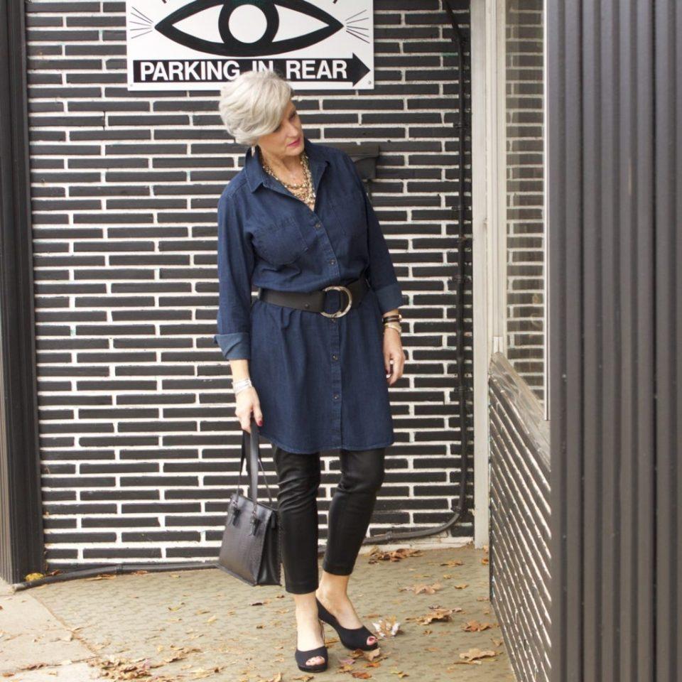 denim shirtdress and leather leggings