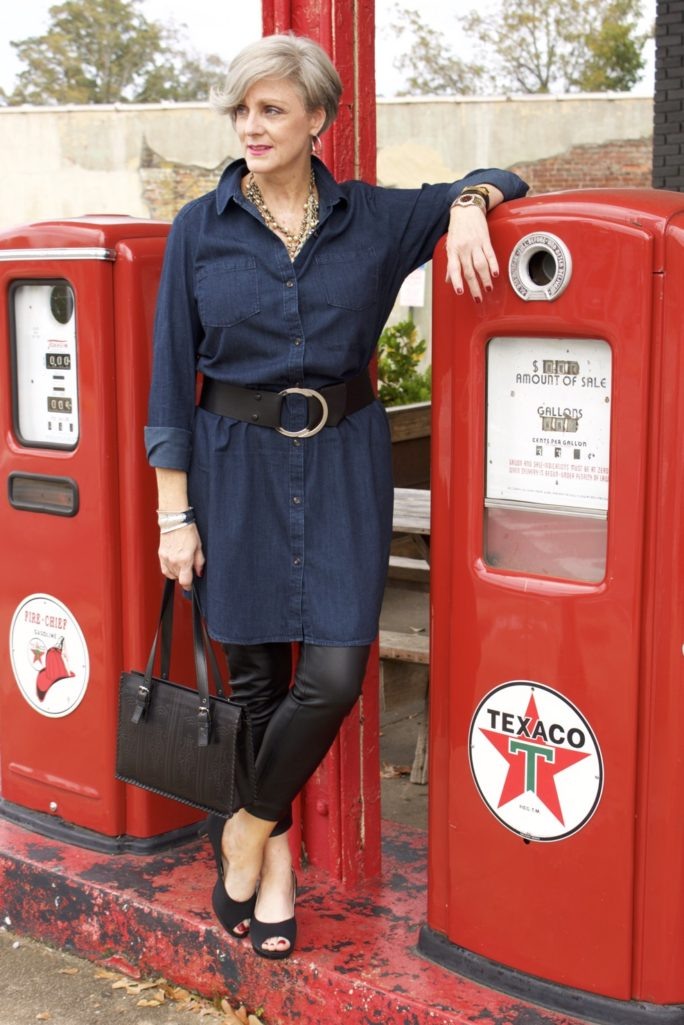 denim shirtdress and leather leggings