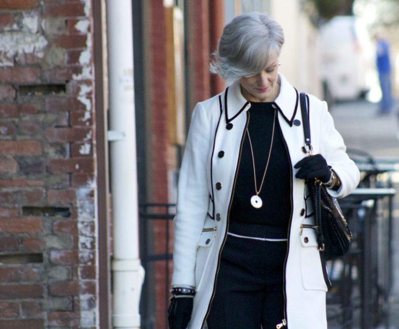 INC. coat, vince camuto black cropped pants, cashmere crewneck, sock booties