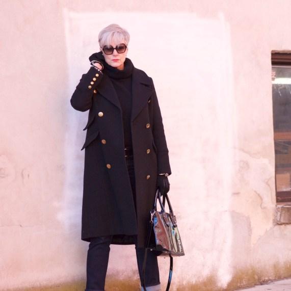 ralph lauren military coat, j.crew black turtleneck, talbots flawless five pocket, leopard chelsea boots