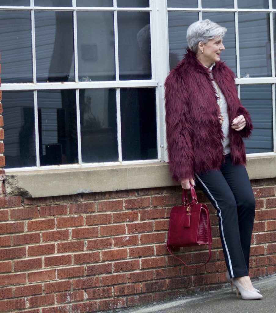 faux fur jacket, joie sweater, ann taylor track pants, vince camuto suede shoes, talbots handbag