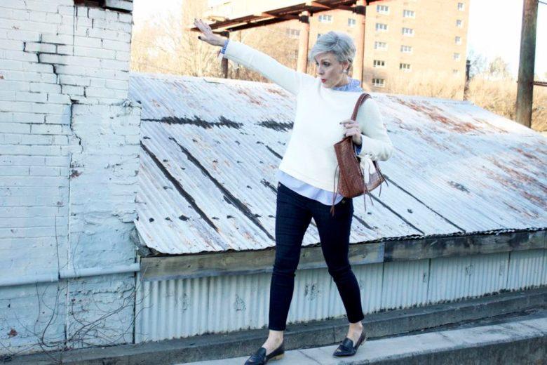 ann taylor grommet sweater, striped ruffled shirt, denim, everlane loafers