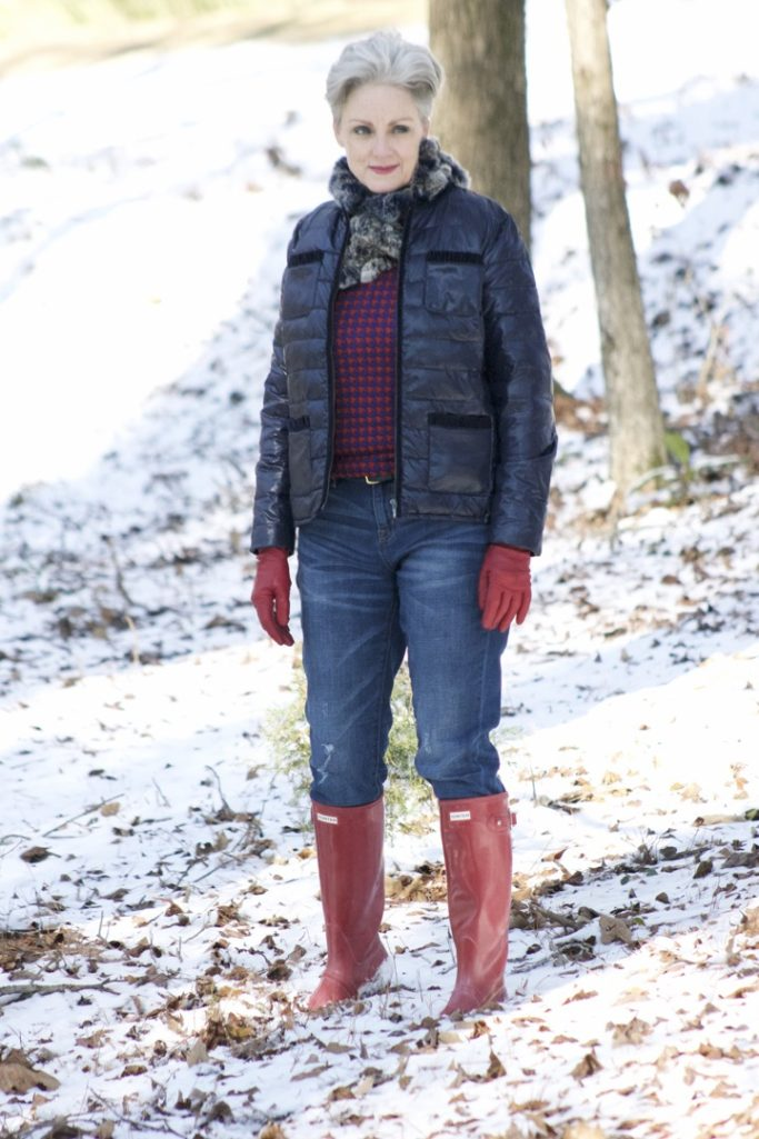 talbots puffer jacket, j.crew boyfriend jeans, hunter boots