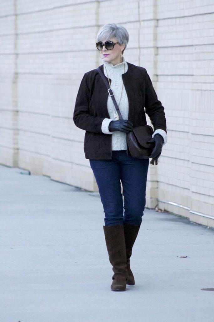 suede jacket, joie sweater, j.crew suede boots, flap crossbody bag