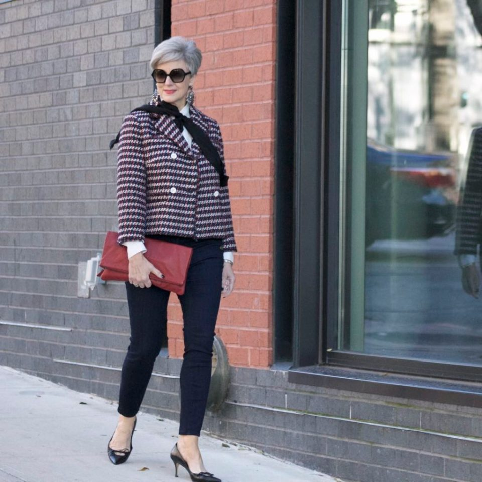 ann taylor double breasted tweed jacket, sailor all day skinny jeans, ralph lauren pussy bow, mark and graham clutch, gucci pumps,