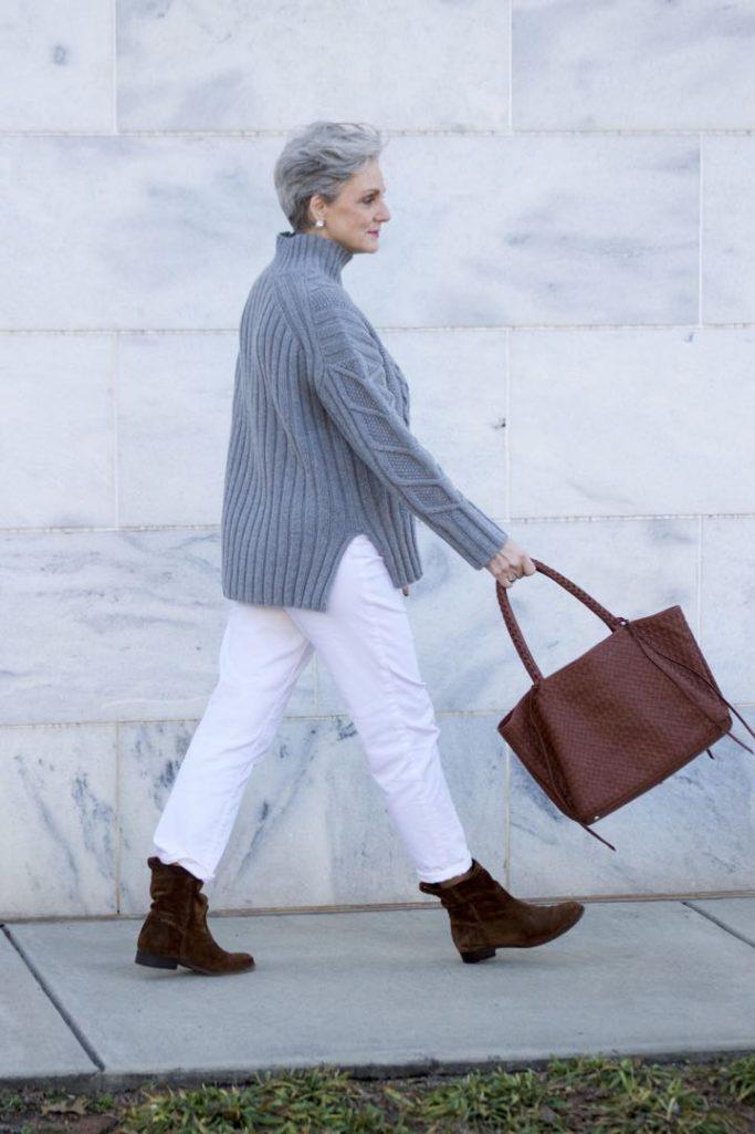 winter white, talbots boyfriend jeans, everlane chunky turtleneck, frye boots,