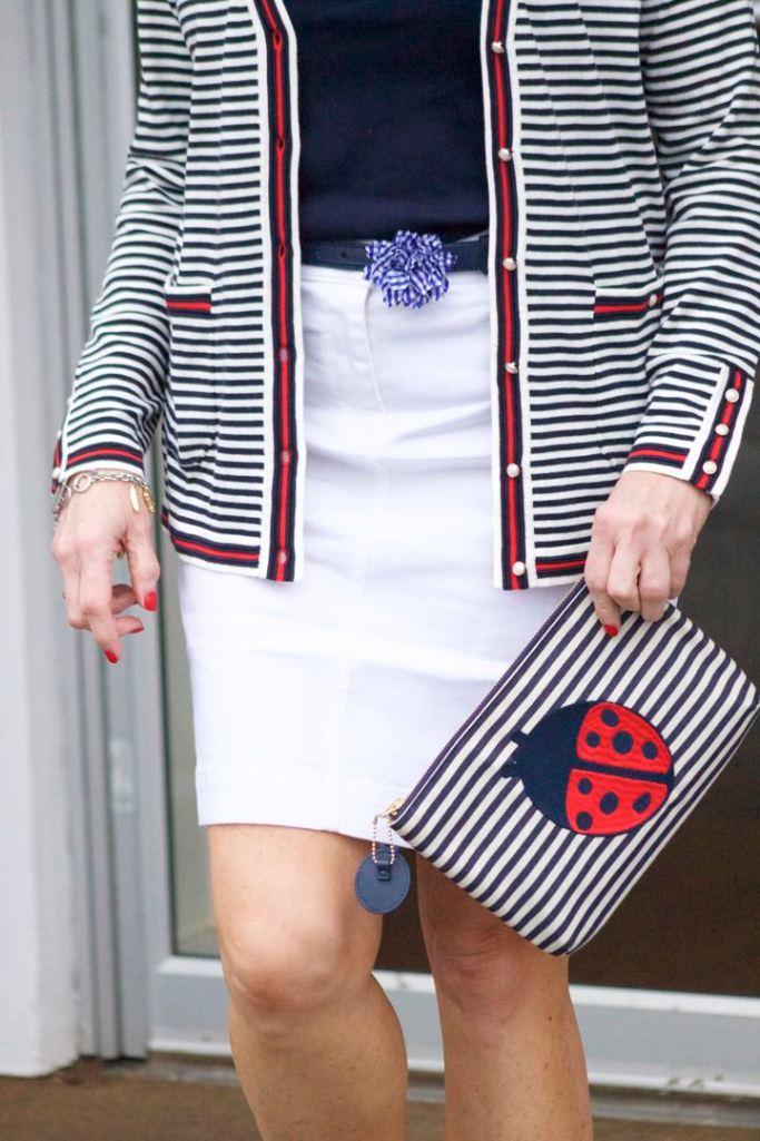 talbots striped cardigan, talbots navy tee, talbots white denim skirt, talbots gingham denim belt, talbots denim shoes, talbots ladybug clutch